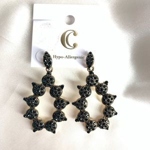 NEW‼️CharmingCharlie darkblue stoned+gold earrings